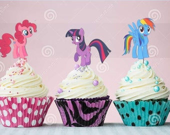 My Little Pony double sided Cupcake Toppers Birthday Party Decorations Set of 12 very cute Pinkie Pie Rainbow Dash and more