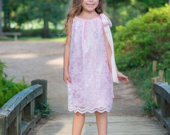 Pink lace and satin pillow case dress 12m - 5t