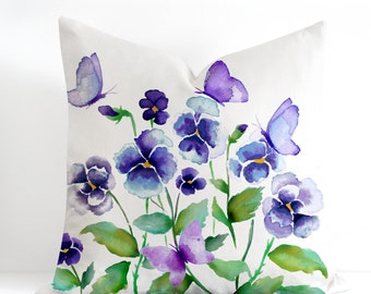 Watercolor Floral Pillow Case, Purple Pansies and Butterflies Pillow Cover, Watercolor Accent Cushion, Linen Cushion Cover, Made in Canada