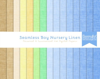 CLEARANCE Seamless Boy Nursery Linen Digital Paper Set - Personal & Commercial Use