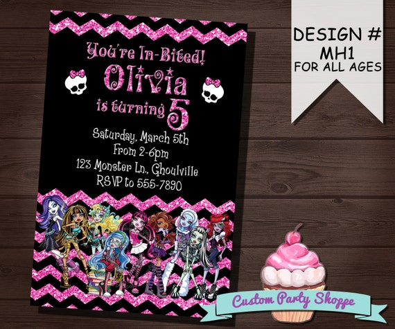 MONSTER HIGH Birthday Invitation, Monster High Party Supplies, Personlalized, Printable, DIY, Custom Party Shoppe