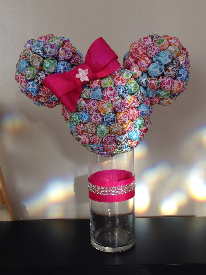 Minnie mouse dum lollipop head w vase by tastytreasures