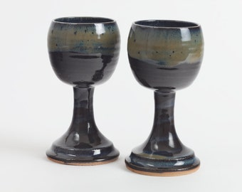 Stoneware goblets, pottery wineglass, goblet, chalice, ceramic wineglass, pottery goblet, ceramics and pottery, stoneware cup.