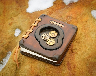 Unique handmade steampunk  wooden journal with vintage clock parts / made to order
