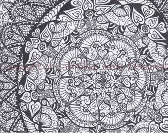 Black and White Paisley Pattern - A4 sized - Unframed.