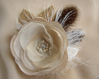 Rustic Burlap Hair Piece - Champagne White Rustic Wedding Hair Flower - Burlap Feather Hairpiece - Bridal Hair Clip - Rustic Accessories