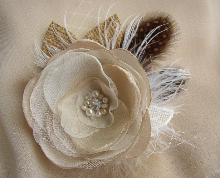 Rustic Burlap Hair Piece Champagne White Rustic Wedding Hair