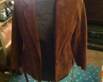 Suede Leather Bon Jour 1980's Blazer with Leather wrap around belt