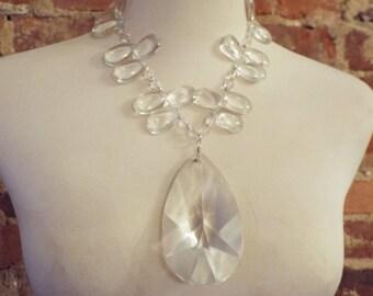 Bold Chunky Glass Statement Necklace w/Pendant