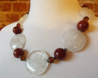 Large Round Crystal Quartz Statement Necklace with Carnelian and Czech Glass