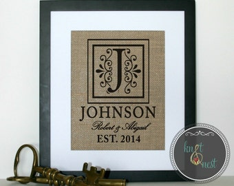 Decorative Personalized Name Sign ~ Burlap Monogrammed Wall Art ~ Wedding Showers, Housewarming, and Anniversaries