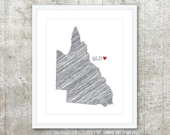 State of Queensland - Custom Australian State Love Poster - Slate Grey Red Heart - Australia Modern Wall Art