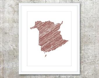 New Brunswick Canada Province Art Print - Custom Canadian Province Poster - Rust Brown - Modern Minimalist Wall Art