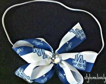 LA Dodger Baby Girl Boutique Bow Elastic Headband