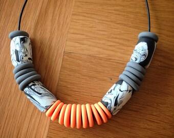 Orange Zebra necklace