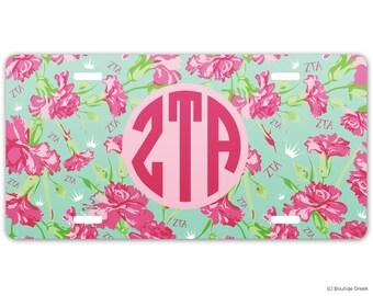 ZTA Zeta Tau Alpha Carnations Sorority License Plate