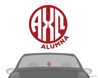 AXO Alpha Chi Omega Monogram Alumna Car Laptop Dorm Window Vinyl Sorority Decal Sticker