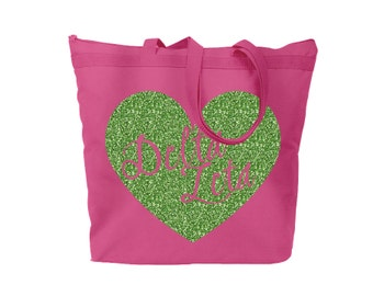 DZ Delta Zeta Script Heart Large Zipped Top Tote Solid or Glitter Monogram