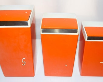 Set of three Vintage Nally Kitchen containers