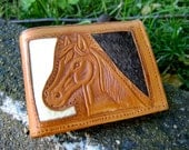 Horse Wallet Rose Pony Vintage Tooled Leather Mexico Mexican Rawhide Purse Handmade Retro Accessories