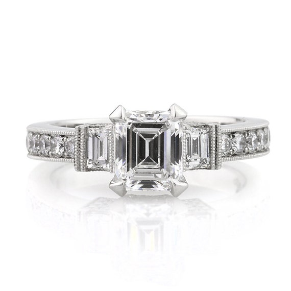 items similar to 2 37ct emerald cut engagement