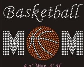 Basketball mom rhinestone transfer - basketball DIY hot fix heat transfer - sports team school transfer