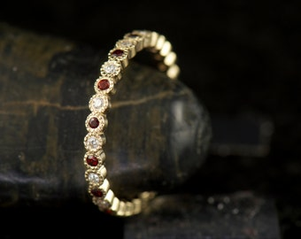 Cadence G - Diamond and Garnet Eternity Band, Round Brilliant Cut Bezel Set Stones with Milgrain, Stackable, Mothers Ring, Free Shipping