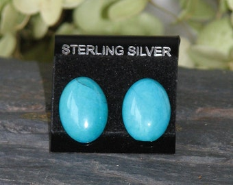 Turquoise Howlite and Sterling Silver Earrings
