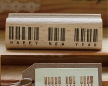 """happy new year rubber stamp -wood stamp  scrapbooking rubber stamping celebration stamp - 1.6"""" x 0.8"""""""