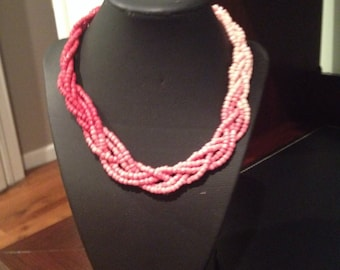 Pink ombre braided necklace