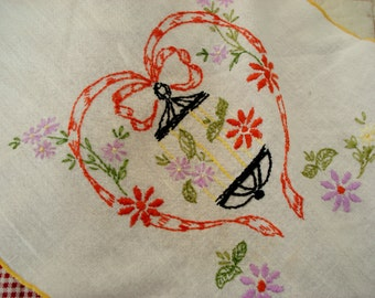 Vintage Bureau Scarf Table Runner Hand Embroidered Floral Cotton Shabby Cottage Chic