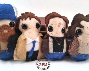 Supernatural plushies - Sam, Dean, Bobby, and Castiel