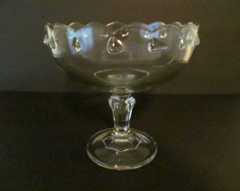 INDIANA GLASS Vintage Teardrop Pattern Compote / Footed Bowl