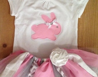 Pink, Grey, Silver, and White Easter Bunny Tutu Outfit
