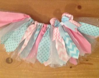 Light Pink and Light Blue Scrap Fabric Tutu