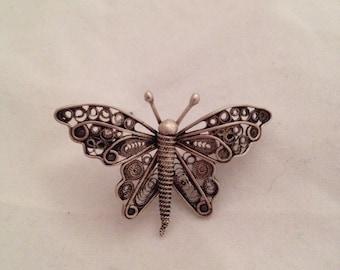 Sterling Silver Art Nouveau Butterfly Brooch