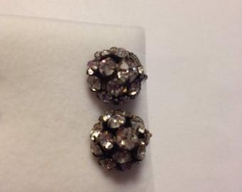 Vintage Czecho Rhinestone Earrings With Screwbacks