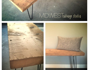4ft Salvaged Barn Wood Bench with Steel Hairpin Legs