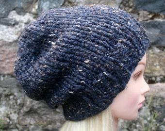 Hand Knit Hat- Womens Hat- Slouchy- Beanie hat- Denim/ Navy/ Dark blue tweed- chunky winter hat- Womens accessories