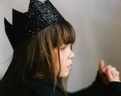 Glitter Crown for girl, black glitter crown