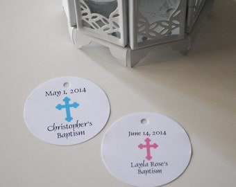 Baptism Favor Tag ,Religious, Christening favor tags ,CROSS Favor Tags for Boys and Girls Baptism Personalized  tags /Set of 30