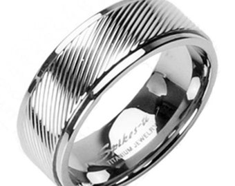 Titanium Diagonal Stripe Band Ring Size 5-14