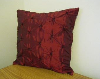 SALE! Dark red taffeta pillow cover