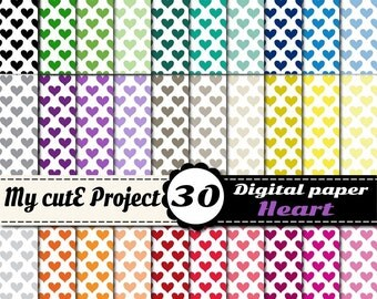 Heart multicolored - Instant Download - DIGITAL Paper - 12X12 inches & A4 - 30 colors - pink, red, green, purple, yellow, blue