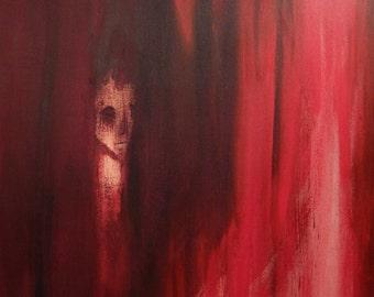 Survivalist, Surviving. Large abstract painting. Original painting. Goth. Abstract figurative painting. Haunting. Political art. Liberal.