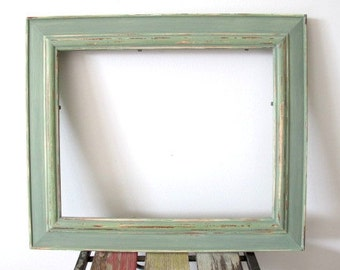 Rustic Photo Frame, Distressed Frame, Wooden Picture Frame, Sage Green 8x10 Photo Frame Shabby chic frame, Wedding frame, Beach decor