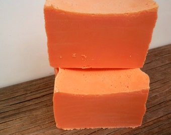 Peach Soap Handmade Cold Process with Shea Butter