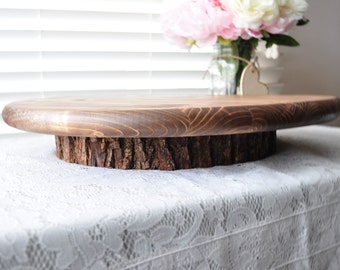 """Round 18"""" Wooden Cake or Cupcake Stand Rustic Wedding, Event Cake Stand, Vow Renewal Decor Country Wedding Woodland Wedding Tree Stump"""