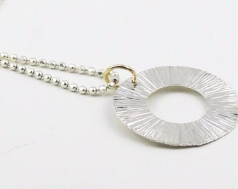 Textured Starburst Sterling Silver Ring Necklace