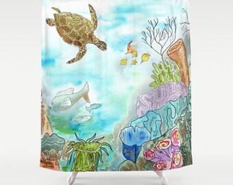 Fine Art Fabric Shower Curtain   Sea Turtle Reef   Watercolor Art, Sea  Turtle,
